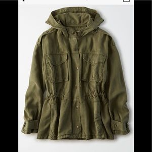 American Eagle Hooded Military Jacket Olive Sz L